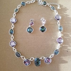 abalone, amethyst crystal and silver statement set